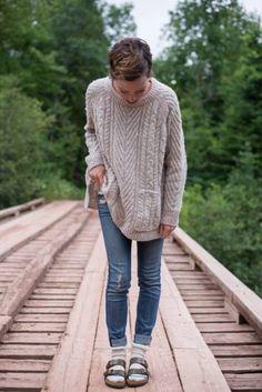 knit sweater, faded jeans, and Birkenstock w/ socks