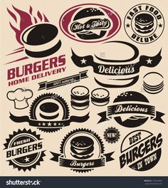 Burger Icons, Labels, Signs, Symbols And Design Elements. Vector Collection Of Fast Food Badges. - 125354963 : Shutterstock