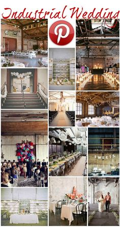 Boho Pins: Industrial Weddings... Half of these I'd say industrial, the other half I'd say rustic! All are beautiful though! :)