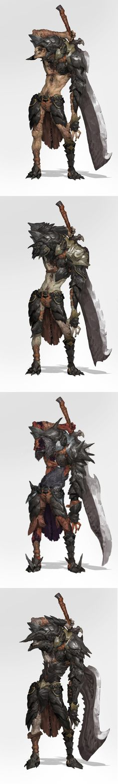 On this character model I like the armor style with it seeming to be solid chunks of rock almost blending into the character model like an exoskeleton, The weapon will also provide further inspiration towards making a character with a large sword such as this
