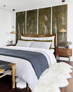 Organic Modern Bedroom Design by Emily Henderson — Pendants by Barnaby Lane Stylish Bedroom, Cozy Bedroom, Modern Bedroom, Master Bedroom, Bedroom Apartment, Apartment Therapy, Master Suite, Bedroom Ideas, Contemporary Bedroom