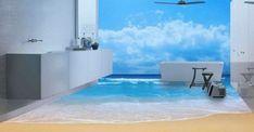 Más suelos en 3D que convierten cualquier baño en un lugar increíble Throat Anatomy, 3d, Outdoor Decor, Home Decor, Home Decorations, Flooring, Places, Interiors, Tutorials