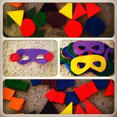 Preschool behavior incentive idea - have a jar to fill with marbles. (They get marbles by having a good day) Their reward: super hero day! Masks made out of felt with shapes to enhance learning.