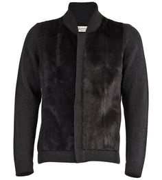 Fur Paneled Cashmere Zip-Front Sweater  :  Valentino
