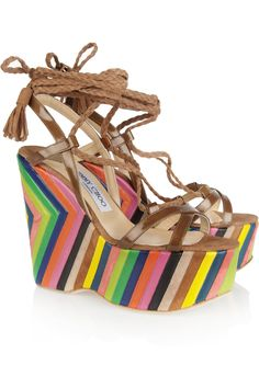 A must have for summer! Jimmy Choo striped leather platform wedge