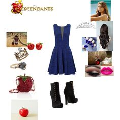Evangeline Queen - Daughter of the Evil Queen and Sister of Evie by maxinehearts on Polyvore featuring Ariella, Dolce&Gabbana, Mary Frances Accessories, Once Upon a Time, Stephen Webster, Retrò, disney, OC and Descendants