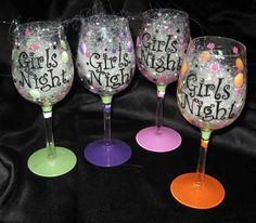 WINE GLASSES & OTHER GLASSWARE - - Girls Night Wine Out Glass Set (4 Glasses) - The Painted Flower (Powered by CubeCart) - Girls Night Wine Glass Set (4 Glasses)
