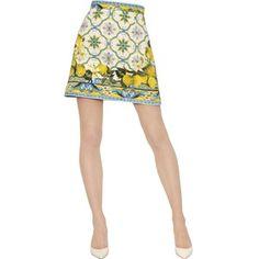 DOLCE & GABBANA Lemon Printed Cotton Brocade Skirt - Multi