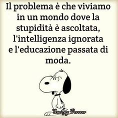 The problem is that we live in a world where stupidity is heard, intelligence ignored and education is out of fashion. Soul Quotes, Wisdom Quotes, Words Quotes, Sayings, Famous Quotes, Best Quotes, Snoopy Cartoon, Italian Quotes, Charlie Brown And Snoopy