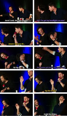 OMG I LOVE THIS!!!!! courtesy of Emily Wolfe! [SET OF GIFS] Jared & Jensen convention panel #VanCon2013