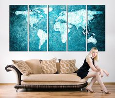 Vintage world map canvas print large world by extralargewallart vintage world map canvas print large world by extralargewallart home decor pinterest canvases doors and printing gumiabroncs Images
