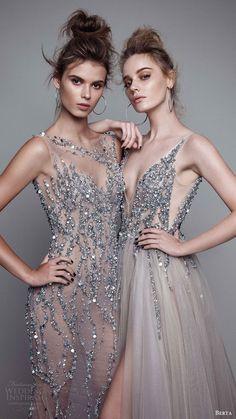 berta rtw fall 2017 (17 10 and 17 11) beaded metallic sleeveless evening dresses mv -- Berta Fall 2017 Ready-to-Wear Collection