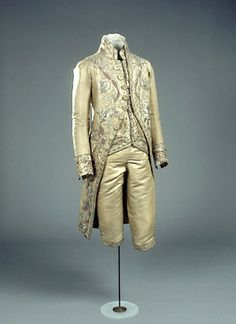 Silver embroidered gold tissue coat and breeches with gold-embroidered silver tissue waistcoat, Danish, late 18th C.