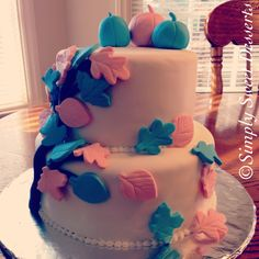 Two Tiered Fall Themed Gender Reveal Cake, Fondant
