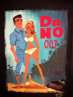James Bond fan art by Lorelay Bove features Sean Connery and Ursula Andress in Dr. No.