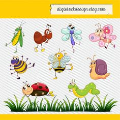 Cartoon Insects Clipart. Cute Bugs Clipart. Colorful Insects Digital Images. Insect Clip art. 283