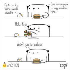 Ya saben las hamburguesas son saludables #opi #kipi #cute #kawaii #mostropi #ilustración