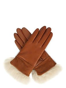 UGG Quinn leather cashmere-lined gloves