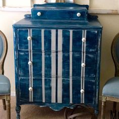 What a distressed beauty this piece by The Modern Farmhouse is! Coastal Blue, Decor, Painted Furniture, Staining Wood, Furniture, Diy Decor, General Finishes Milk Paint, Wood Crafts, Striped Furniture