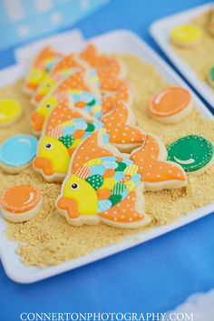 Cute tropical fish decorated cookies