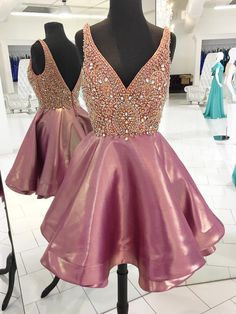 Sparkly Beads Pink Short Homecoming Dress Party Dress