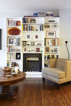 shelves around original fireplace