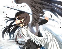 Anime Boy with Wings | ... wings, anime girl, white, black, wing, cute, sexy, simple, weapon