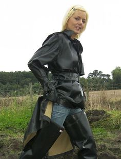 Shiny Days, Wellies Rain Boots, Rubber Raincoats, Rain Gear, Wellington Boot, Black Rubber, Riding Boots, Leather Jacket, How To Wear