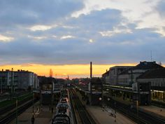 Sunset at the train station in Gyor, Hungary Eastern Europe, Train Station, Hungary, New York Skyline, Gypsy, Roots, Street View, Sunset, Travel