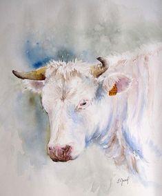 Vache josette marrel Watercolor Artists, Watercolor Animals, Watercolor Paintings, Paintings I Love, Animal Paintings, Happy Cow, Cow Art, Acrylic Art, Art Plastique