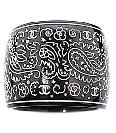 Chanel Black Resin Bracelet Cuff