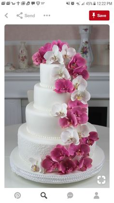 Something like this but ombrey from purple to blue on the cake and a swirl of orchids (less than shown) Round Wedding Cakes. Something like this but ombrey from purple to blue on the cake and a swirl of orchids (less than shown) Orchid Wedding Cake, Orchid Cake, Round Wedding Cakes, Floral Wedding Cakes, Amazing Wedding Cakes, Elegant Wedding Cakes, Wedding Cake Designs, Wedding Flowers, Trendy Wedding