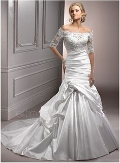 Google Image Result for http://www.charmgirl.co.uk/189-401-large/satin-and-lace-off-the-shoulder-neckline-short-sleeves-rouched-bodice-trumpet-style-with-pick-up-skirt-2012-wedding-dress.jpg
