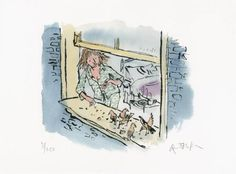 Giclée print on Hahnemuhle 'German etching' paper, with hand-deckled edges. Hand-numbered and signed by the artist.Supplied direct from Quentin Blake's studio.