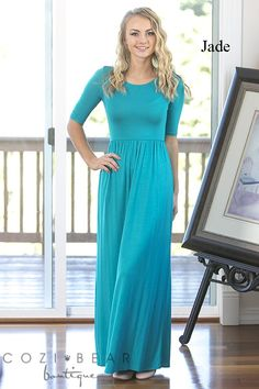 Our new everyday maxi dresses are so comfortable and flattering! They feature 1/2 length sleeves and a flattering empire waist.