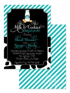 Milk and Cookies - Digital Birthday Party or Babyshower Invitation / Child Party Ideas / Children Party Themes / Children Invites / Children Invitations / Kid Party Ideas / Kid Invitations