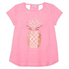 Girls' Open Racerback Tee with Pineapple Graphic