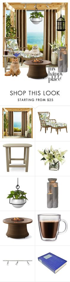 """""""Ocean Veiw: My Happy Place"""" by lizzyslegs ❤ liked on Polyvore featuring interior, interiors, interior design, home, home decor, interior decorating, Pier 1 Imports, Tommy Bahama, Polywood and Umbra"""