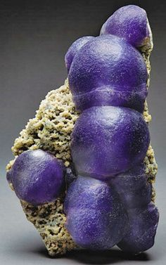 Botryoidal fluorite mineral sample in deep purple, Dongqiyishan Fluorite deposit, (Inner Mongolia), China. Fluorite rarely crystallizes in botryoidal form-