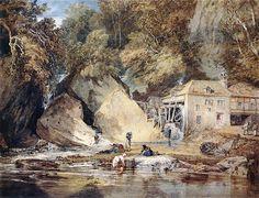 TURNER, Joseph Mallord William English Romantic (1775-1851)_Aberdulais Mill- circa 1796