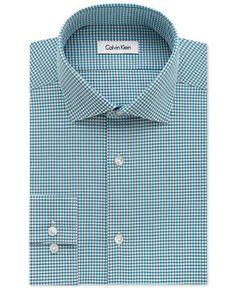 Calvin Klein STEEL Men's Slim-Fit Non-Iron Lapis Gingham Dress Shirt - Dress Shirts - Men - Macy's