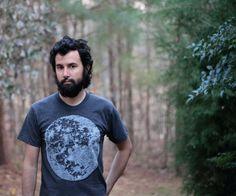 Mens t shirt - S/M/L/XL - moon shirt, for him - full moon screenprint on American Apparel heather black tshirt - My Moon, My Man. $25.00, via Etsy.