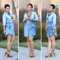 Denim Dress + Chunky Heels - Mimi G Style