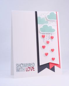 Super cute creating the cloud scene in the fishtail banner. Showered With Love Card by carissawiley at @Studio_Calico