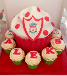 Liverpool FC giant cupcake surrounded by matching cupcakes