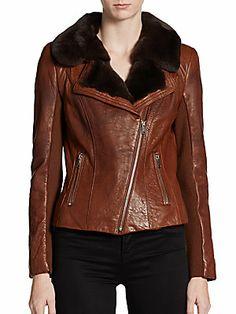 Andrew Marc Sami Fur-Trimmed Leather Jacket