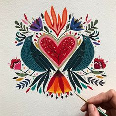 I was missing my birds / echaba de menos a mis pajaritos ❤️. Art And Illustration, Floral Illustrations, Kunst Inspo, Art Inspo, Folk Art Flowers, Flower Art, Scandinavian Folk Art, Guache, Mexican Folk Art
