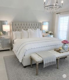 I love this bedroom with the upholstered headboard