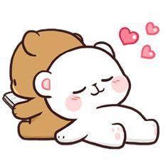 Line Sticker Indonesia . Indonesia Sticker line sticker indonesia Cute Love Pictures, Cute Love Gif, Cute Couple Cartoon, Cute Love Cartoons, Calin Gif, Gif Lindos, Cute Bear Drawings, Bear Gif, Hug Gif