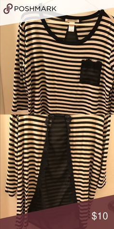 Beige and black shirt Beige and black shirt 47% polyester 47% flax 6% spandex.  Sheer design in the back Tops Tunics